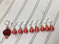 Orange Crystal & Pearl Stitch Marker Set for Knitters , Stitch Markers - Jill's Beaded Knit Bits, Jill's Beaded Knit Bits  - 2