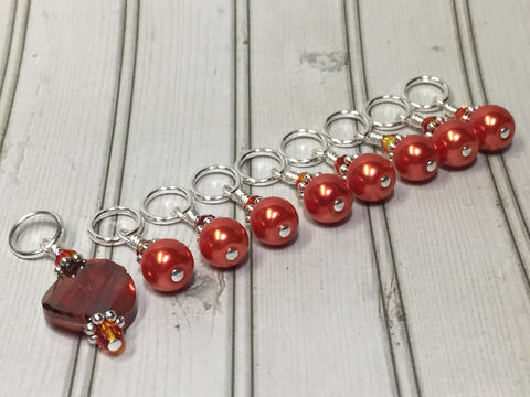 Orange Crystal & Pearl Stitch Marker Set for Knitters , Stitch Markers - Jill's Beaded Knit Bits, Jill's Beaded Knit Bits  - 3