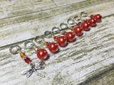 Orange Dragonfly Stitch Marker Set- 9 pieces , Stitch Markers - Jill's Beaded Knit Bits, Jill's Beaded Knit Bits  - 1