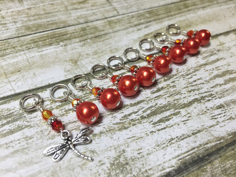 Orange Dragonfly Stitch Marker Set- 9 pieces