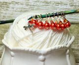 Orange Dragonfly Stitch Marker Set- 9 pieces , Stitch Markers - Jill's Beaded Knit Bits, Jill's Beaded Knit Bits  - 5