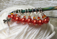 Orange Dragonfly Stitch Marker Set- 9 pieces , Stitch Markers - Jill's Beaded Knit Bits, Jill's Beaded Knit Bits  - 6