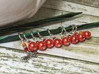 Orange Dragonfly Stitch Marker Set- 9 pieces , Stitch Markers - Jill's Beaded Knit Bits, Jill's Beaded Knit Bits  - 7