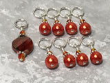 Orange Crystal & Pearl Stitch Marker Set for Knitters , Stitch Markers - Jill's Beaded Knit Bits, Jill's Beaded Knit Bits  - 5