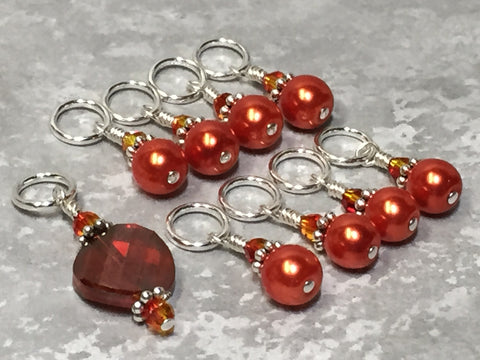 Orange Crystal & Pearl Stitch Marker Set for Knitters