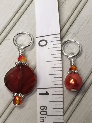 Orange Crystal & Pearl Stitch Marker Set for Knitters , Stitch Markers - Jill's Beaded Knit Bits, Jill's Beaded Knit Bits  - 6
