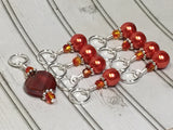 Orange Crystal & Pearl Stitch Marker Set for Knitters , Stitch Markers - Jill's Beaded Knit Bits, Jill's Beaded Knit Bits  - 7