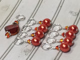 Orange Crystal & Pearl Stitch Marker Set for Knitters , Stitch Markers - Jill's Beaded Knit Bits, Jill's Beaded Knit Bits  - 8