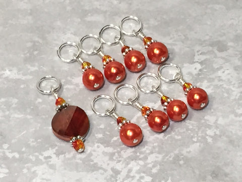Orange Crystal & Pearl Stitch Marker Set for Knitters , Stitch Markers - Jill's Beaded Knit Bits, Jill's Beaded Knit Bits  - 4
