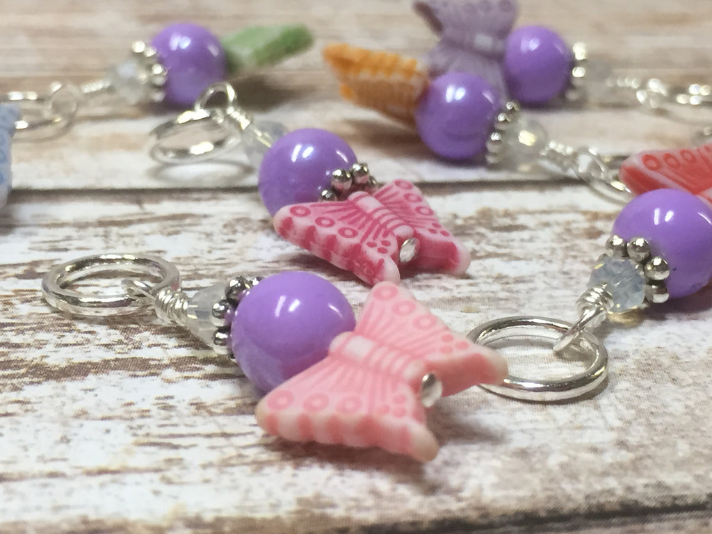 Snag Free Knitting Stitch Markers- Pastel Butterflies (8 piece) , Stitch Markers - Jill's Beaded Knit Bits, Jill's Beaded Knit Bits  - 1