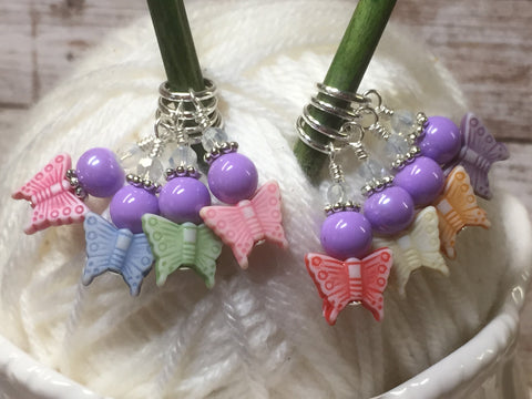 Snag Free Knitting Stitch Markers- Pastel Butterflies (8 piece) , Stitch Markers - Jill's Beaded Knit Bits, Jill's Beaded Knit Bits  - 3