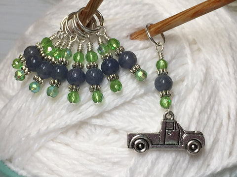 Antique Pick up Truck Stitch Marker Set , Stitch Markers - Jill's Beaded Knit Bits, Jill's Beaded Knit Bits  - 1