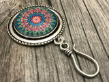 MAGNETIC Mandala Portuguese Knitting Pin- ID Badge Holder- Gift for Knitters