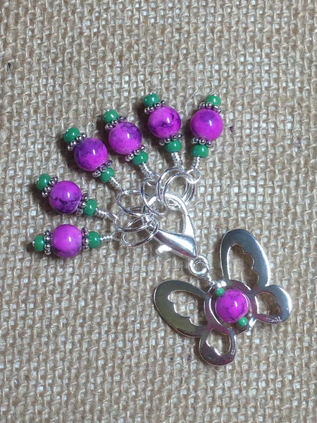 Beaded Butterfly Stitch Marker Set-Pink , Stitch Markers - Jill's Beaded Knit Bits, Jill's Beaded Knit Bits  - 1