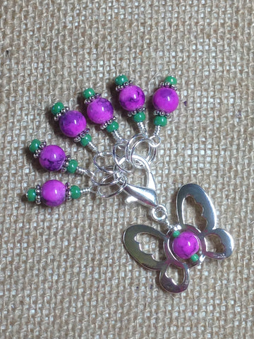 Beaded Butterfly Stitch Marker Set-Pink
