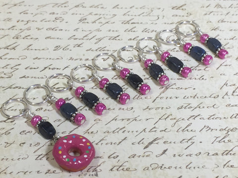 Pink Doughnut Stitch Marker Set- 9 Pieces- Knitting Tools