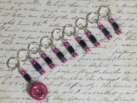 Pink Doughnut Stitch Marker Set- 9 Pieces- Knitting Tools , stitch markers - Jill's Beaded Knit Bits, Jill's Beaded Knit Bits  - 2