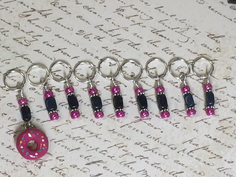 Pink Doughnut Stitch Marker Set- 9 Pieces- Knitting Tools , stitch markers - Jill's Beaded Knit Bits, Jill's Beaded Knit Bits  - 3