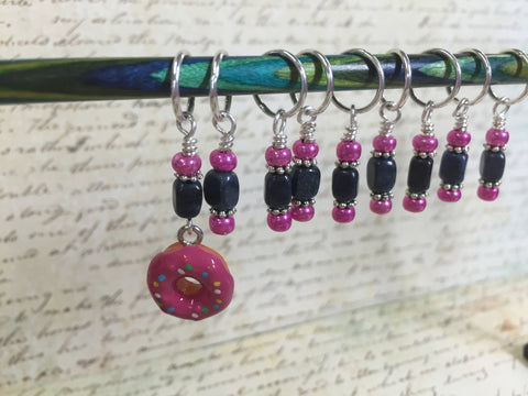 Pink Doughnut Stitch Marker Set- 9 Pieces- Knitting Tools , stitch markers - Jill's Beaded Knit Bits, Jill's Beaded Knit Bits  - 4