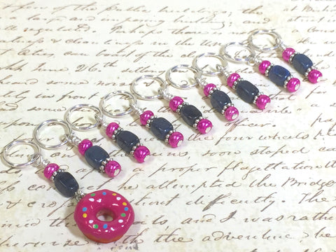 Pink Doughnut Stitch Marker Set- 9 Pieces- Knitting Tools , stitch markers - Jill's Beaded Knit Bits, Jill's Beaded Knit Bits  - 6