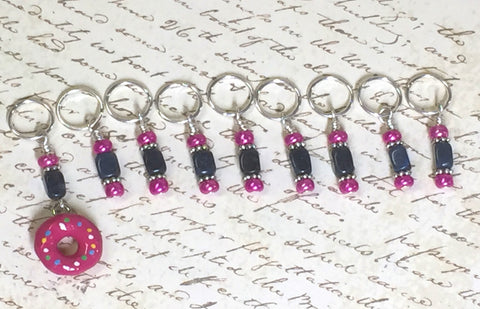 Pink Doughnut Stitch Marker Set- 9 Pieces- Knitting Tools , stitch markers - Jill's Beaded Knit Bits, Jill's Beaded Knit Bits  - 7