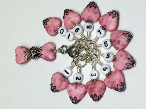 Pink Heart Numbered Stitch Marker Set with Beaded Holder , Stitch Markers - Jill's Beaded Knit Bits, Jill's Beaded Knit Bits  - 8
