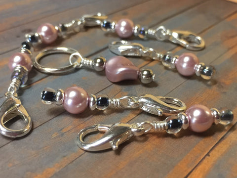 Removable Pink Pearl Stitch Markers & Holder , Stitch Markers - Jill's Beaded Knit Bits, Jill's Beaded Knit Bits  - 2