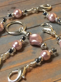 Removable Pink Pearl Stitch Markers & Holder , Stitch Markers - Jill's Beaded Knit Bits, Jill's Beaded Knit Bits  - 4