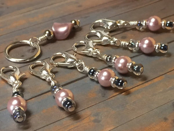 Removable Pink Pearl Stitch Markers & Holder , Stitch Markers - Jill's Beaded Knit Bits, Jill's Beaded Knit Bits  - 1