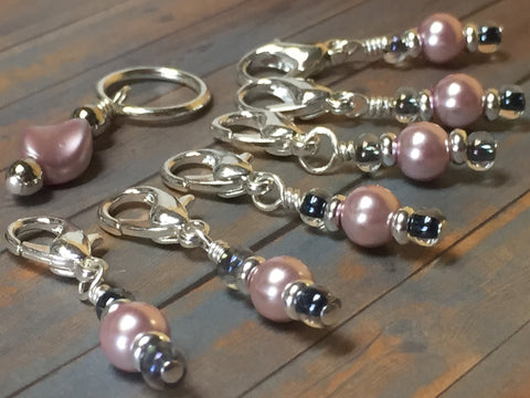 Removable Pink Pearl Stitch Markers & Holder , Stitch Markers - Jill's Beaded Knit Bits, Jill's Beaded Knit Bits  - 5
