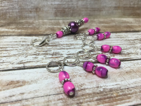 Pink-Purple Stitch Marker Holder with Snag Free Stitch Markers , Stitch Markers - Jill's Beaded Knit Bits, Jill's Beaded Knit Bits  - 2
