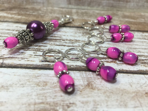 Pink-Purple Stitch Marker Holder with Snag Free Stitch Markers , Stitch Markers - Jill's Beaded Knit Bits, Jill's Beaded Knit Bits  - 1
