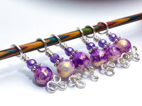 Purple and Gold Stitch Markers for Knitting