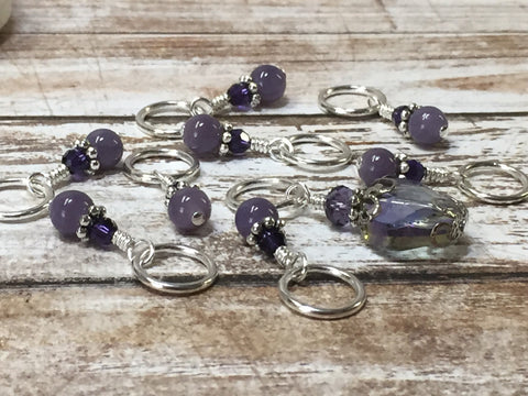 Purple Crystal Stitch Marker Set , Stitch Markers - Jill's Beaded Knit Bits, Jill's Beaded Knit Bits  - 3