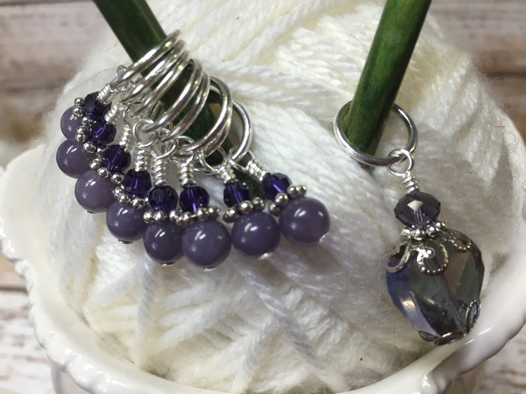 Purple Crystal Stitch Marker Set , Stitch Markers - Jill's Beaded Knit Bits, Jill's Beaded Knit Bits  - 1