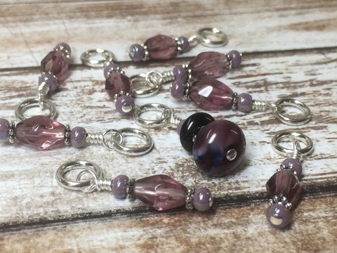 Purple Glass Snag Free Stitch Marker Set- 9 Pieces , Stitch Markers - Jill's Beaded Knit Bits, Jill's Beaded Knit Bits  - 5
