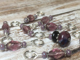 Purple Glass Snag Free Stitch Marker Set- 9 Pieces , Stitch Markers - Jill's Beaded Knit Bits, Jill's Beaded Knit Bits  - 6