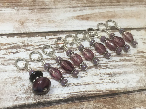 Purple Glass Snag Free Stitch Marker Set- 9 Pieces , Stitch Markers - Jill's Beaded Knit Bits, Jill's Beaded Knit Bits  - 2
