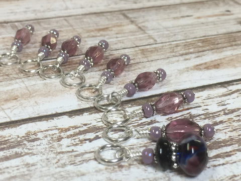 Purple Glass Snag Free Stitch Marker Set- 9 Pieces , Stitch Markers - Jill's Beaded Knit Bits, Jill's Beaded Knit Bits  - 3