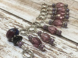 Purple Glass Snag Free Stitch Marker Set- 9 Pieces , Stitch Markers - Jill's Beaded Knit Bits, Jill's Beaded Knit Bits  - 4