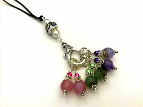 Leather Cord Stitch Marker Necklace and Snag Free Stitch Markers | Adjustable