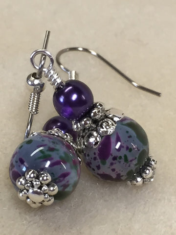 Purple Speckle French Hook Wire Earrings , jewelry - Jill's Beaded Knit Bits, Jill's Beaded Knit Bits  - 8