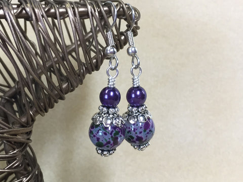Purple Speckle French Hook Wire Earrings , jewelry - Jill's Beaded Knit Bits, Jill's Beaded Knit Bits  - 1
