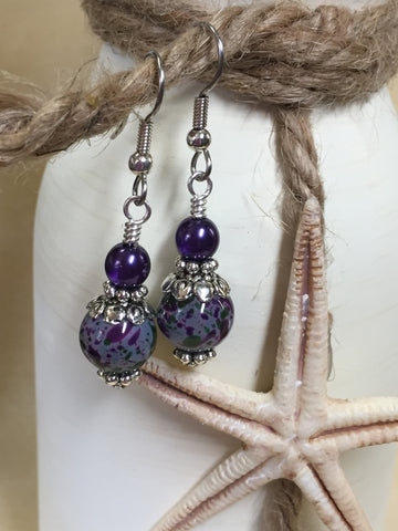 Purple Speckle French Hook Wire Earrings , jewelry - Jill's Beaded Knit Bits, Jill's Beaded Knit Bits  - 10