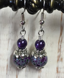 Purple Speckle French Hook Wire Earrings , jewelry - Jill's Beaded Knit Bits, Jill's Beaded Knit Bits  - 3