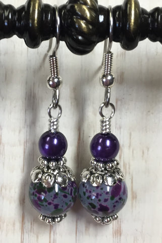 Purple Speckle French Hook Wire Earrings , jewelry - Jill's Beaded Knit Bits, Jill's Beaded Knit Bits  - 4