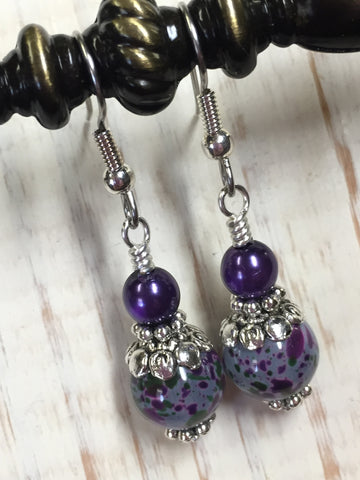 Purple Speckle French Hook Wire Earrings , jewelry - Jill's Beaded Knit Bits, Jill's Beaded Knit Bits  - 5