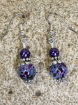 Purple Speckle French Hook Wire Earrings , jewelry - Jill's Beaded Knit Bits, Jill's Beaded Knit Bits  - 6
