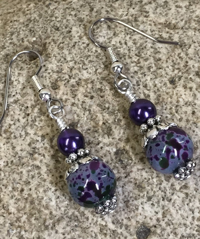 Purple Speckle French Hook Wire Earrings , jewelry - Jill's Beaded Knit Bits, Jill's Beaded Knit Bits  - 7