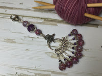 Purple Speckle Lanyard with Removable Crochet Markers , Stitch Markers - Jill's Beaded Knit Bits, Jill's Beaded Knit Bits  - 5